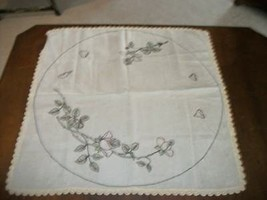 ART DECO ERA SHABBY CHIC HAND TINTED EMBROIDERED LINEN TABLECLOTH CROCHE... - $37.99