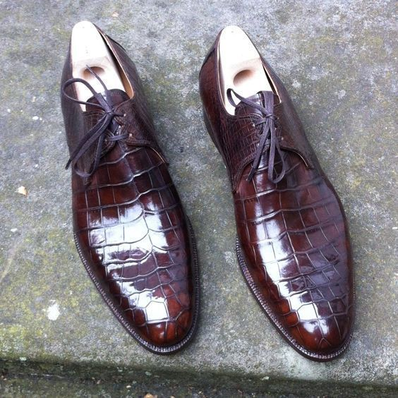 Handmade Men's Crocodile Texture Leather Shoes