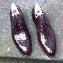 Handmade Men's Crocodile Texture Leather Shoes image 1
