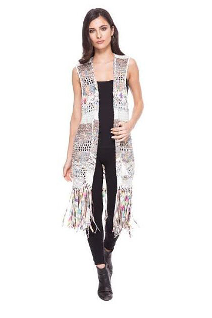 Exotic Long Chiffon 3/4-Sleeve Black/Multi-Color Duster by Adore image 4