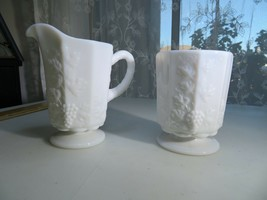 Westmoreland OLD QUILT MILK GLASS creamer sugar pot Pop Art Cubism Déco  - $22.00