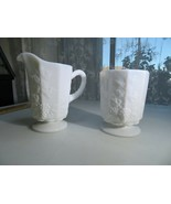 Westmoreland OLD QUILT MILK GLASS creamer sugar pot Pop Art Cubism Déco  - $22.00