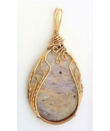 Purple Sagenite Agate Bronze Wire Wrap Pendant 43 - $27.98