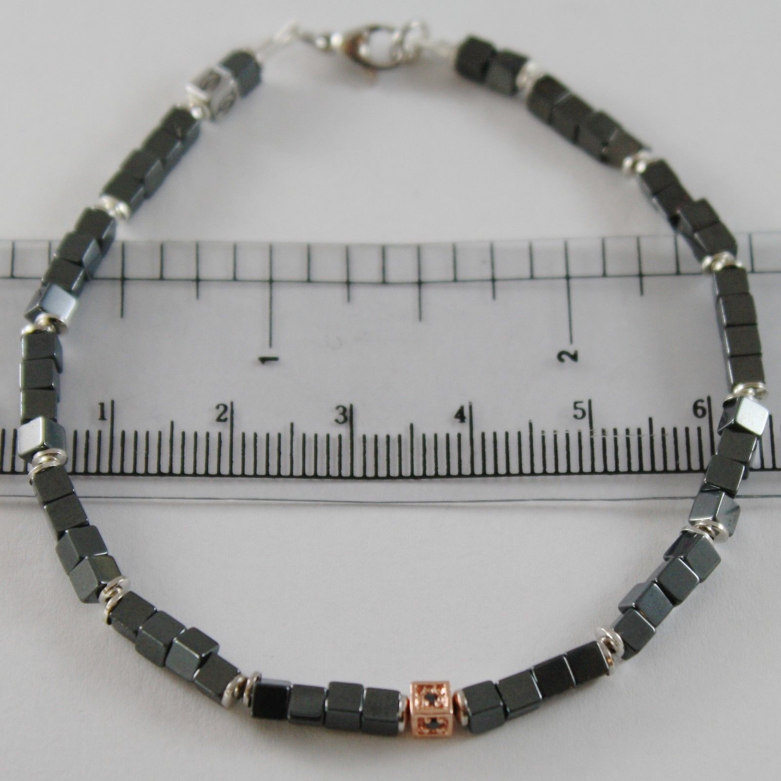 BRACELET GIADAN 925 SILVER HEMATITE LUCID AND 4 DIAMONDS BLACK MADE IN ITALY