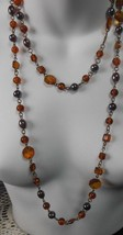 Vintage Double Strand Rootbeer Glass Hematite Bead Chain Necklace - $54.45