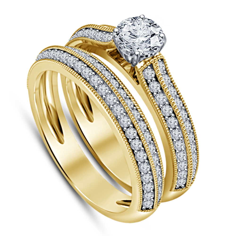 Simulated Diamond Unique Women's Design 10k Gold Plated Gold Bridal Ring Set