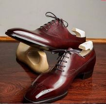Brogues Toe Maroon Red Genuine Leather Men Casual Dress Stylish Oxford Shoes - $139.90+