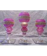 3pc. Pink & Gold Candleholder Set - $78.09