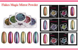 Flakes Magic Mirror Powder Nail Art Chameleon Glitter Color Changing Brush - $5.99
