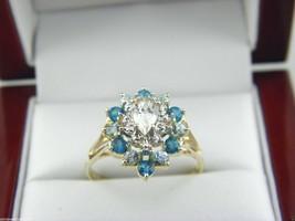 Blanco y Azul Topacio Anillo en 14k Oro Amarillo Talla - $343.08