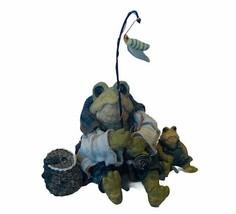 Boyds Bears Frog Figurine Folkstone Wee Ribbit Frogmorton fly fishing ta... - $23.71