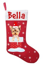 Yorkshire Terrier Christmas Stocking - Personalized Yorkie Stocking - Red - $29.99