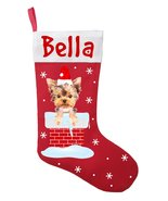 Yorkshire Terrier Christmas Stocking - Personalized Yorkie Stocking - Red - $28.49+
