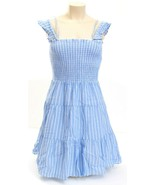 Romeo & Juliet Couture Blue & White Tiered Smocked Dress Women's NWT - $89.24