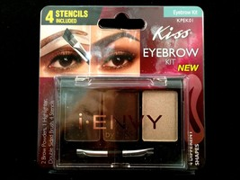 KISS EYEBROW KIT 2 BROW POWDER 1 HIGHLIGHTER DOUBLE SIDED BRUSH 4 STENCI... - $5.99