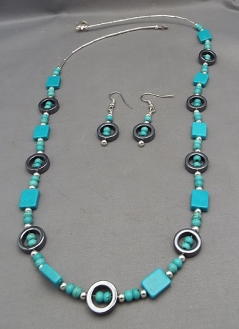 Hopi-Peralta Gray Hematite & Turquoise Necklace & Earring Set