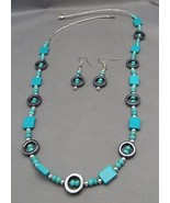 Hopi-Peralta Gray Hematite & Turquoise Necklace... - $29.95