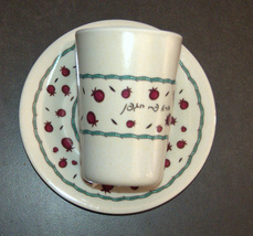 Judaica Kiddush Cup Saucer Organic Bamboo Fibers Pomegranates Sabbath Holiday image 2