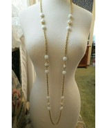 VTG Crown Trifari Long Necklace Chain Gold Plated Glass Beads Couture 54... - $49.49