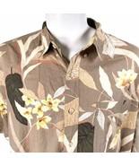 Chaps Ralph Lauren 2XL Tropical Flowers Leaves Pale Brown Hawaiian Shirt - $39.59