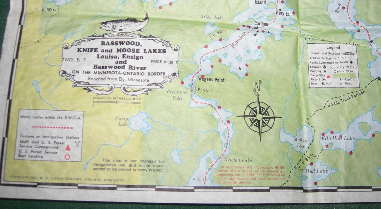 Map of Minnesota-Ontario Border - 1980s - Waterproof