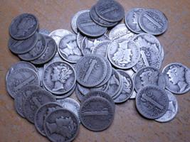1 ROLL 1928 90% SILVER MERCURY DIMES - $5 FACE VALUE - 50 COINS - $129.99
