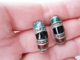 Vintage silver hoop pierced earrings. green agate, carnelian, onyx, marc... - $16.00