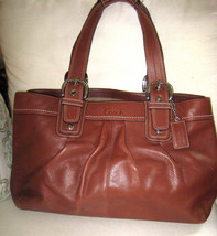 AUTH COACH Soho Pleated Brown Leather Satchel / Tote / Shoulder Bag 1373... - $84.15