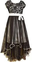 Bonnie Jean Big Girl Tween 7-16 Black/white Velvet Lace To Mesh Overlay High Low