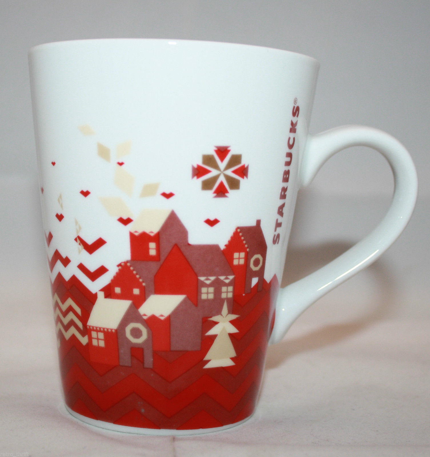 Primary image for Starbucks 2013 Christmas Holiday 1 Coffee Mug Cups 11 oz  White Red House