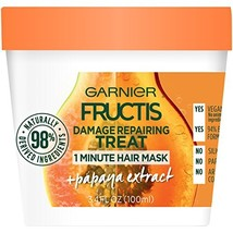 Garnier Fructis Damage Repairing Treat 1 Minute Hair Mask with Papaya Ex... - $3.16
