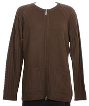 ST. JOHN Cocoa Brown 100% Cashmere Knit Zip Front Cardigan Jacket L NEW - $329.99