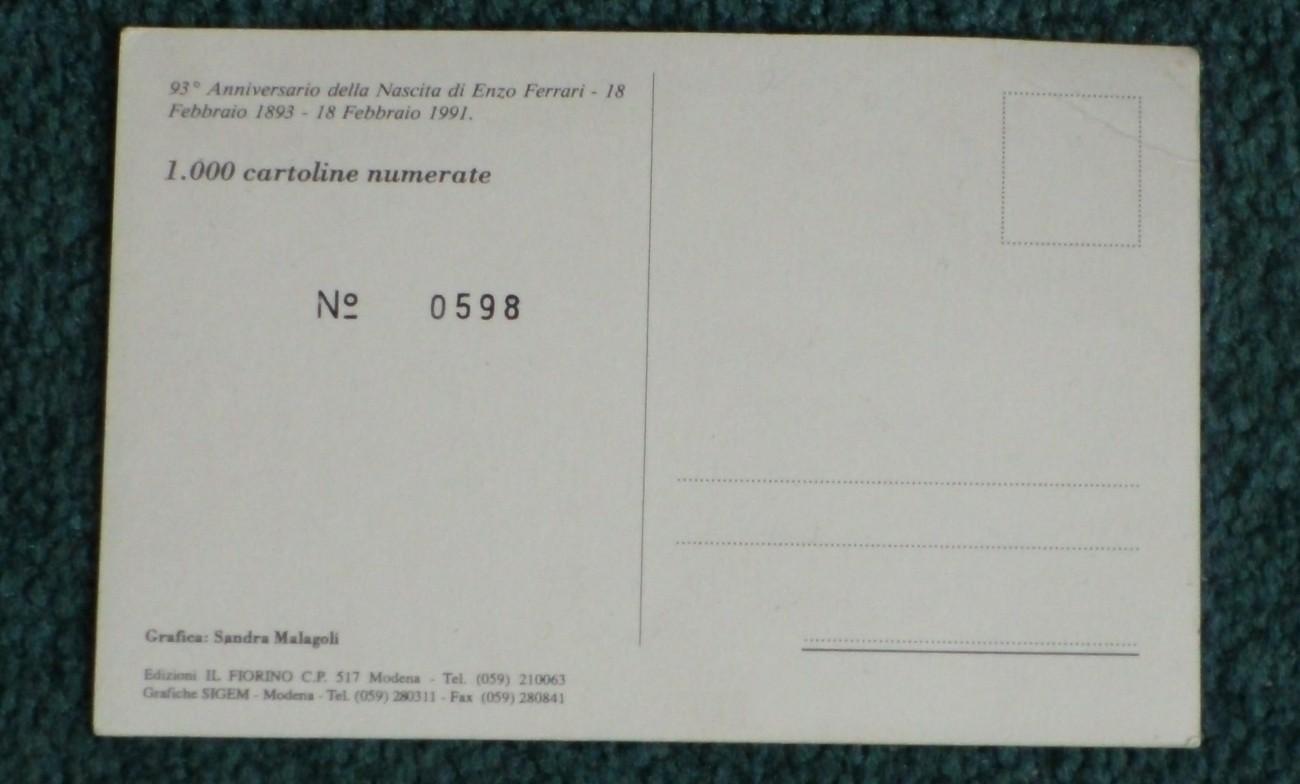 93 Anniversary della Nascita di Enzo Ferrari 1893 1991 Limited edition Postcard