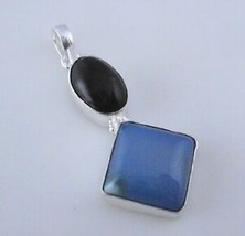 chalcedony-Black Onyx Silver Overlay Handmade Pendant Jewelry 11 Gr. F-441-59_23 - $4.04