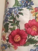 Bold Floral Apron Front Pockets Adjustable Neck Tie Waist White Rose Hou... - $9.50