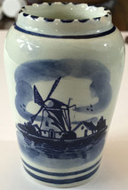 """Vintage Porcelain Small Size Vase Windmill Blue White Delft  3.5"""" Tall Sm Chip - $8.00"""
