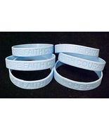 Light Blue Awareness Bracelets Lot of 6 Scleroderma Silicone Wristbands New - $9.77