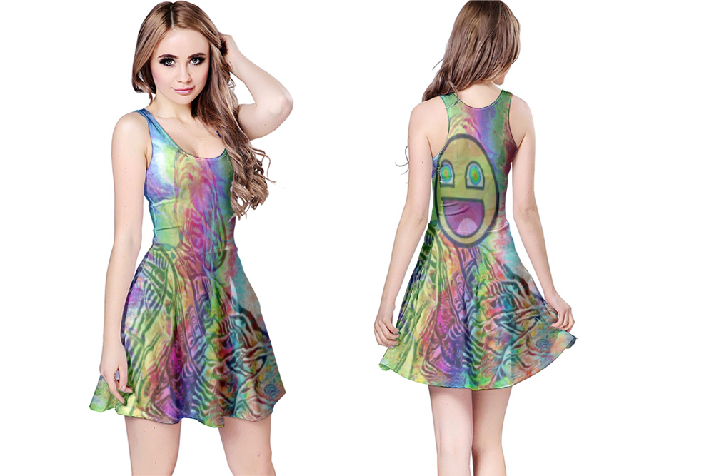 DMT Smiley psychedelic Reversible Dress