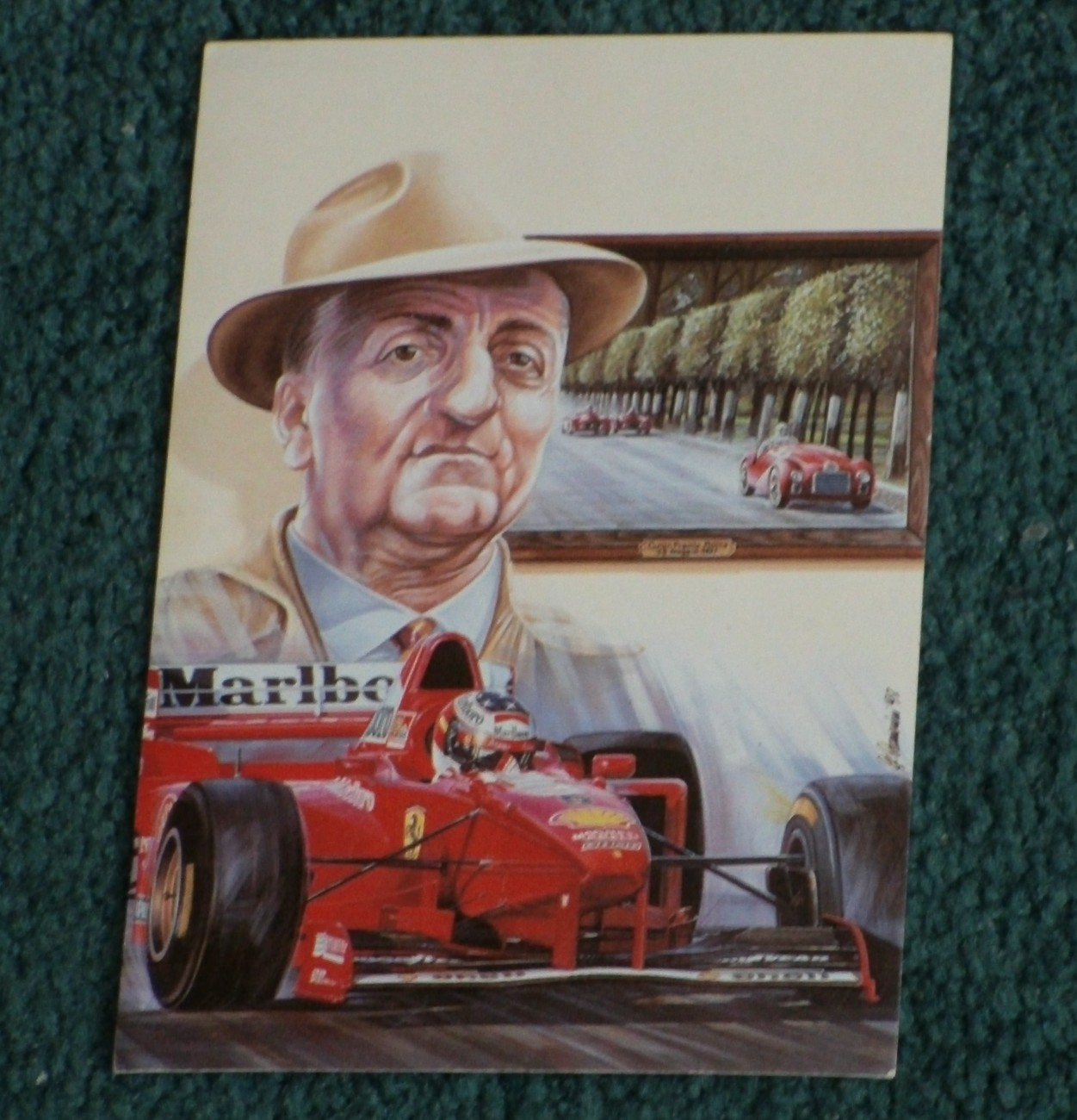 Primary image for FORMULA 1 Maranello 1947 Franco Ferrari + 97 Schumacher F310B Postcard Ltd. Ed.