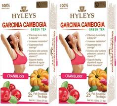 2 X Hyleys Tea 100% Natural Green Tea Garcinia Cambogia and Cranberry, 25 Bags - $10.99