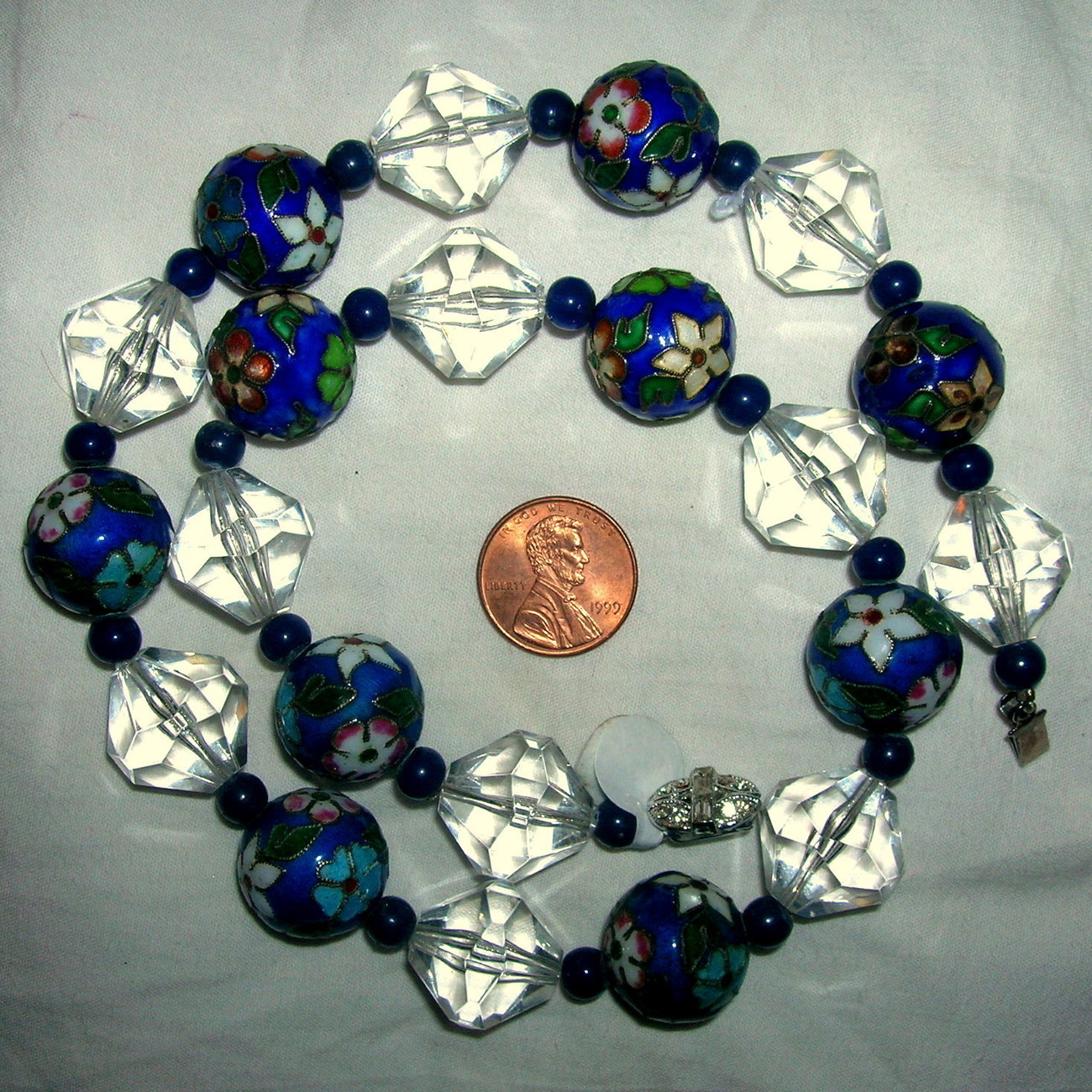 Chunky Vintage Estate Chinese Cloisonne Floral Bead Lucite Necklace 17 mm Beads