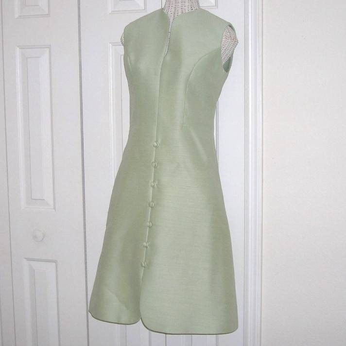 Heavy Vintage Ruth McCulloch 50s Jackie O Style 2 Pc Dress Dress Coat Mint Green