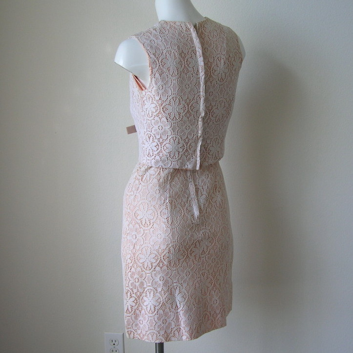 Mod Vintage 60s Bombshell Illusion Lace Sheath Dress Lace Secretary Work Dress