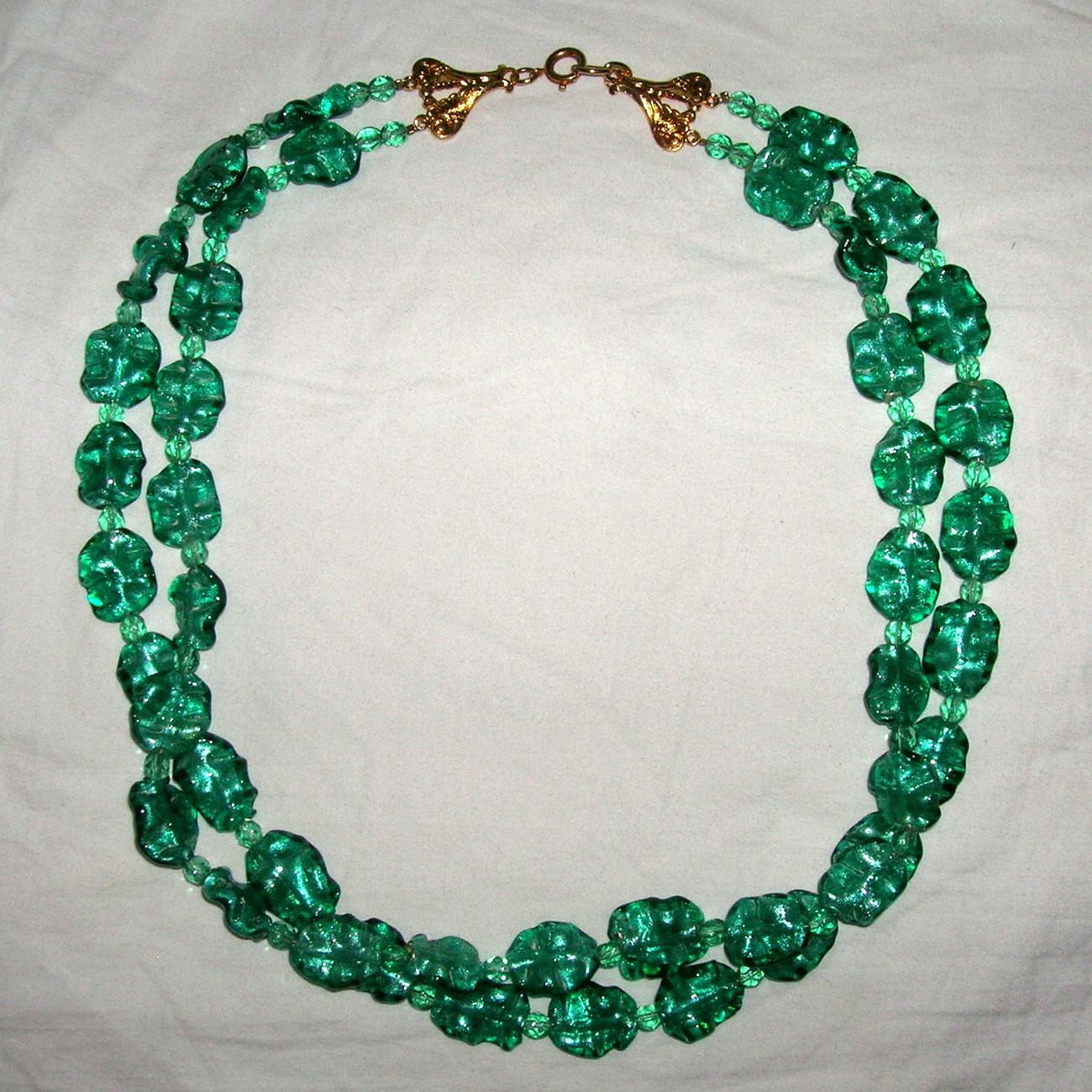 Vintage 2 Strand Venetian Silver Foil Aventurine Art Glass Ruffled Bead Necklace