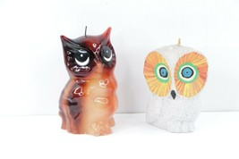 Vintage 70s Mid Century Modern MCM Set of 2 Owl Wax Candles Table Figurines - $79.15