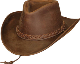 Henschel Oiled Pull-up Leather Cowboy Hat Braided Band Made In USA Brown... - $82.00