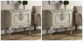 TWO NEW TUSCAN WOOD AGED FINISH ACCENT SIDE STORAGE CABINET TABLE DROP D... - $1,315.60