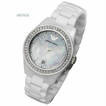 New Emporio Armani White Ceramica Mother of Pearl Dial Women's Watch AR1426 - $193.96 CAD