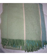 Vintage Berger Pledd Striped Wool Throw  Stadium Blanket in Green Teal C... - $185.00
