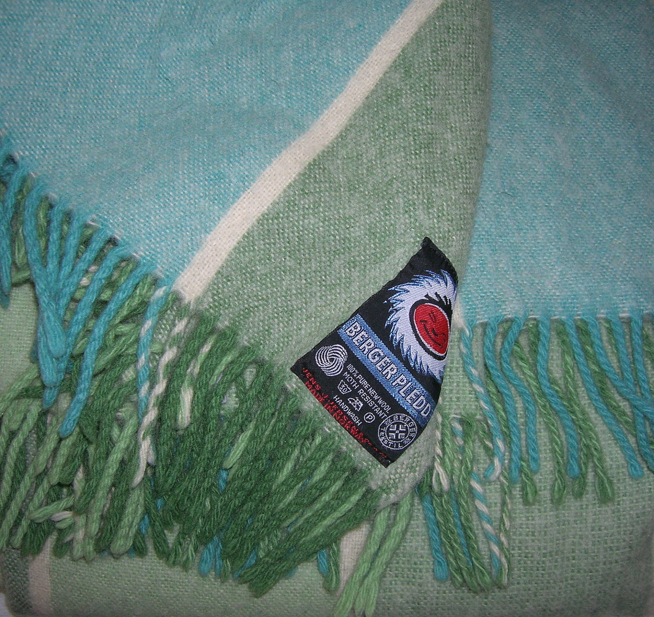 Vintage Berger Pledd Striped Wool Throw  Stadium Blanket in Green Teal Cream